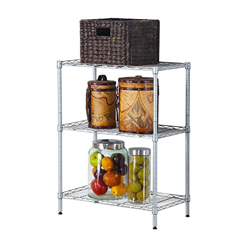 Globe House Products GHP Silver Carboon Steel Kitchen Baker's Storage Rack Shelf Microwave Oven Stand by Globe House Products