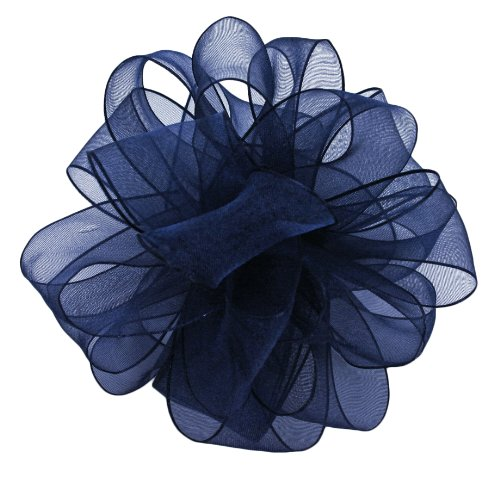 (Offray Wired Edge Encore Sheer Craft Ribbon, 1-1/2-Inch Wide by 25-Yard Spool, Navy)