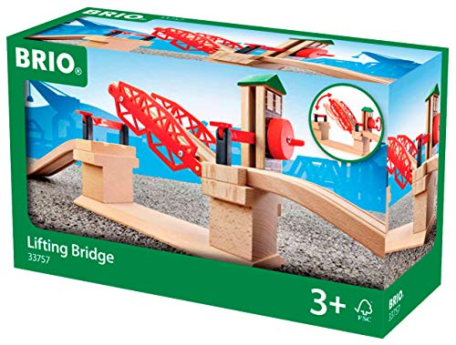(BRIO 33757 Lifting Bridge | Toy Train Accessory with Wooden Track for Kids Age 3 and Up)