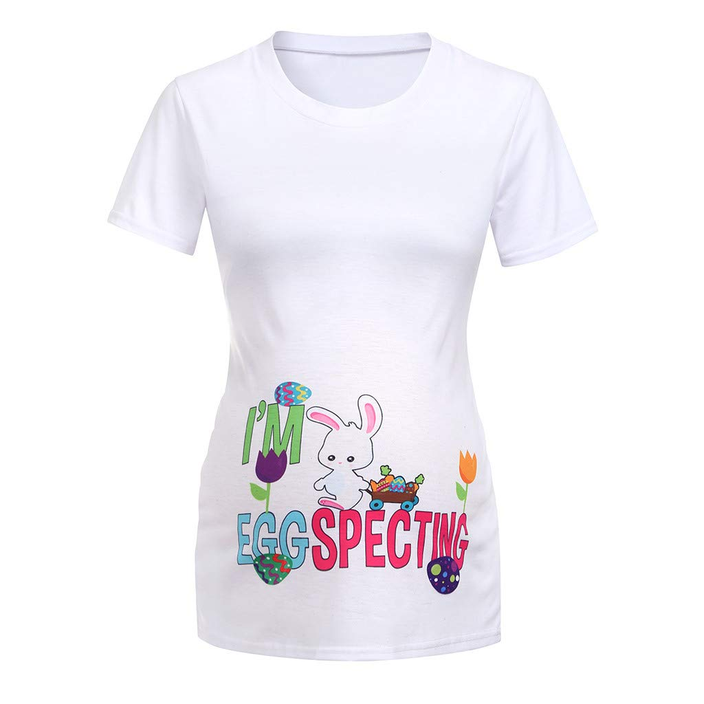 Women's Maternity Baby Floral Bunny T-Shirt Top Tee T-Shirt Pregnancy Short Sleeve Casual Top (S, White 2)