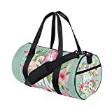 Hello Summer Floral Flowers Tropical Flamingo Sports Gym Shoulder Handy Duffel Bags for Women Men Kids Boys Girls