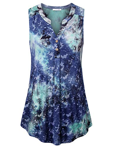 Messic Summer Tops for Women Ladies Button V Neck Tunics Sleeveless Designer Dressy Flowy Tank Tops Loose Casual Going Out Summer Clothing Swing Henley Shirts Blue Green XL