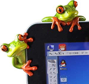 L.DONG 2 Pack Funny Frogs Decor, 3D Creative Craft Frog Figurine Toys for Computer, Adorable Office Desk Decoration Resin Ornament Cute Toys Birthday Gift for Friends