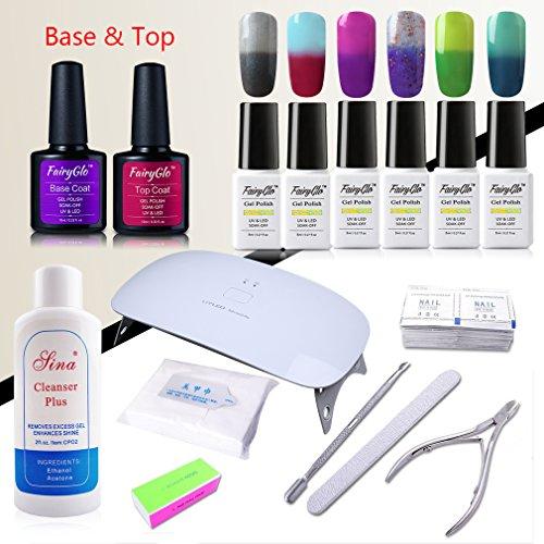 6 PCS Thermal Colour Changing Nail Polish Base Top UV 24W US