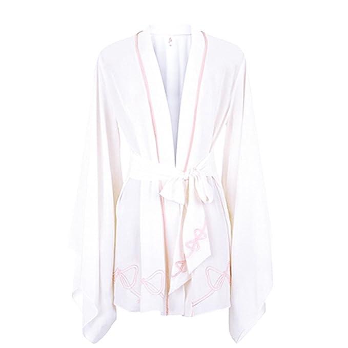 Mujeres Sexy Kimono Bata De Verano Camisones De Verano Albornoces Pijamas Vestidos De Novia Durmiendo Batas Para Spa Home Hotel Bathing,White-M: Amazon.es: ...