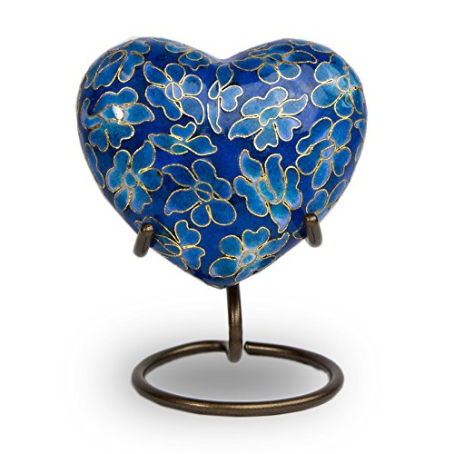 Essence Bronze Heart Memorial Keepsake Urns - Extra Small - Holds Up to 3 Cubic Inches of Ashes - Azure Blue Cremation Urn for Ashes
