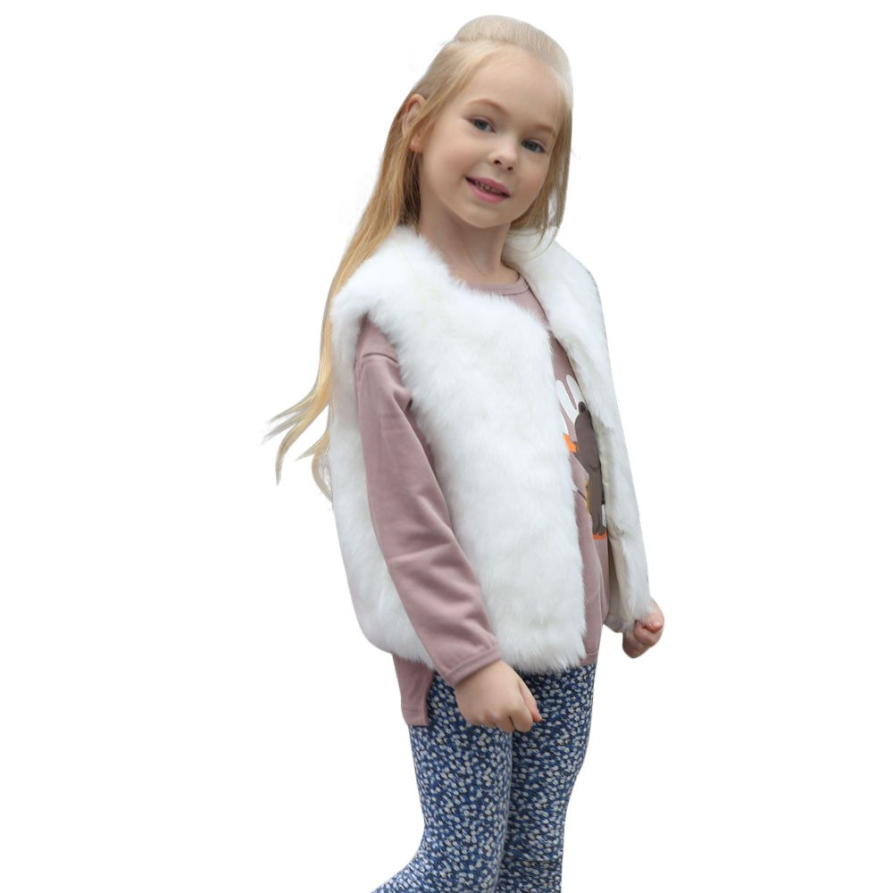 Zerototens Baby Girl Coat,2-8 Years Old Kid Toddler Girls Autumn Winter Faux Cashmere Coat Jacket Child Thick Warm Vest Tops Kids Cardigan Waistcoat Outwear Clothes