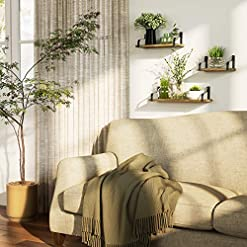 Entryway Love-KANKEI Floating Shelves Wall Mounted Set of 3, Rustic Wood Wall Storage Shelves for Bedroom, Living Room, Bathroom…