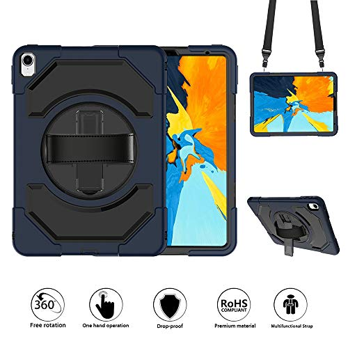 GROLEOA iPad Pro 11 Case 2018 Adjustable Strap Stand 360 Degree Rotation Case Hard Bumper Shockproof Full-Body Protective Case for iPad Pro 11 inch 2018 (Black+Dark Blue) (Degree Stand 360 Rotation)