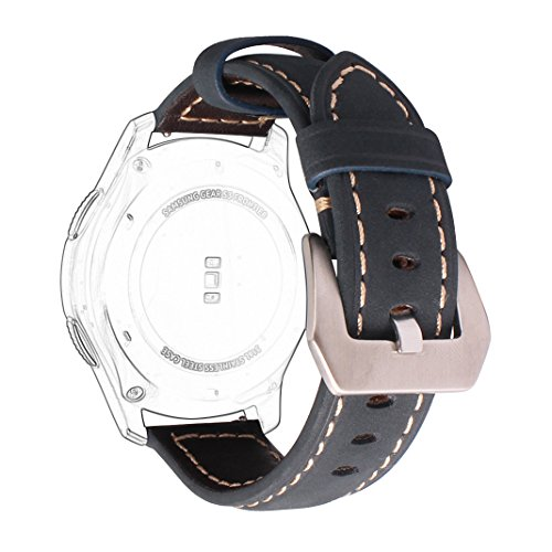 Price comparison product image Gear S3 Classic / Frontier Band Leather,  AISPORTS 22mm Samsung Gear S3 Leather Band Smart Watch Straps Replacement Band with Metal Bracelet Buckle Clasp for Samsung Gear S3 / Moto 360 2nd Gen 46mm