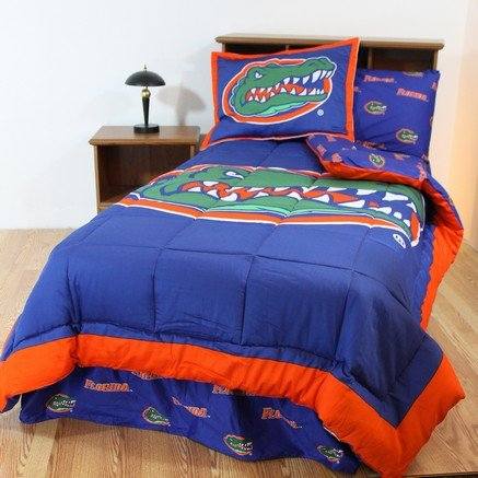 Florida Gators 6 pc Twin Bed in a Bag and TWO Valances - Includes: 1 Reversible Comforter, 1 Pillow Sham, Flat Sheet, Fitted Sheet, 1 Pillow Case, Bedskirt and 2 -