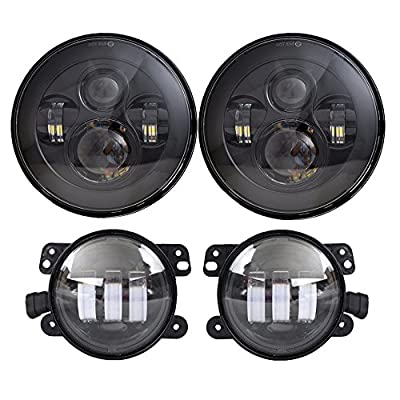 7'' Black Daymaker LED Headlights + 4 ''Cree LED Fog Lights for Jeep Wrangler 97-2016 TJ LJ JK