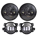 7'' Black Daymaker LED Headlights + 4 ''Cree LED Fog Lights for Wrangler 97-2016 TJ LJ JK