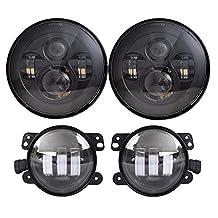 7'' Black Daymaker LED Headlights + 4 ''Cree LED Fog Lights for Wrangler 97-2016 TJ LJ JK