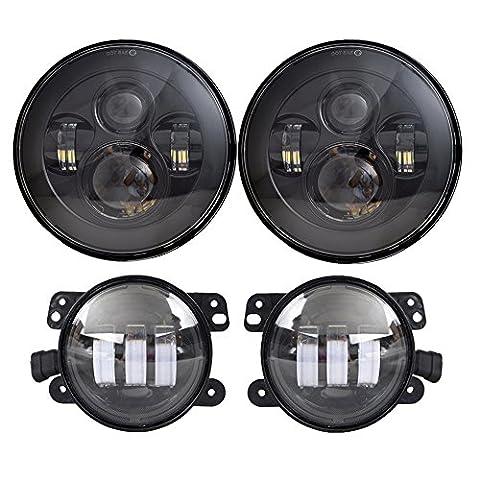 DOT Approved 7'' Black Daymaker LED Headlights + 4 ''Cree LED Fog Lights for Jeep Wrangler 97-2017 JK TJ (2013 Jeep Parts)