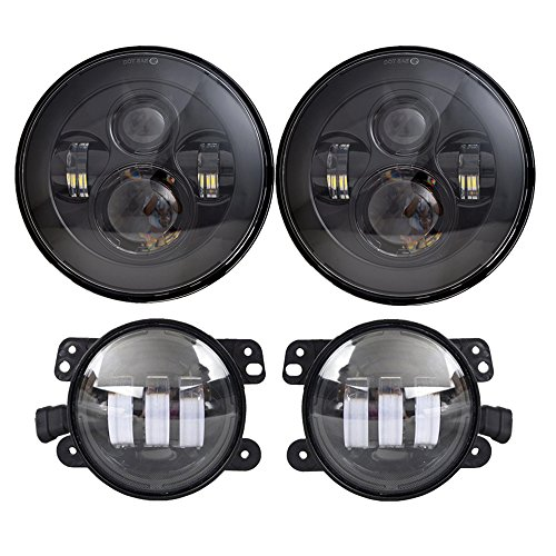 "DOT Approved 7"" Black Daymaker LED Headlights + 4 ""Cree LED Fog Lights for Jeep Wrangler 97-2017 JK TJ LJ"