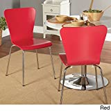Simple Living Pisa Bentwood Stackable Dining Kitchen Chairs (Set of 2) (red) For Sale