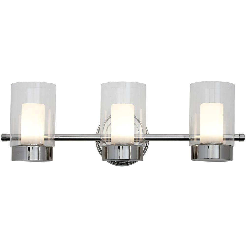 Polished Nickel Candle Light Fixture | Glass Surrounded LED Lighting Fixture | Vanity, Bedroom, or Bathroom | Interior Lighting Triple Light by Hamilton Hills