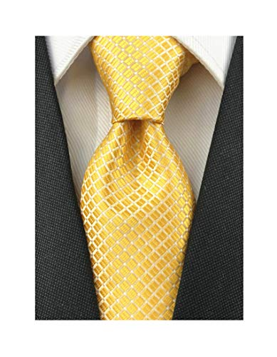 Men's Boys Gold Silk Ties Cravat Neckties Jacquard Woven Solid Color Plain Patterns