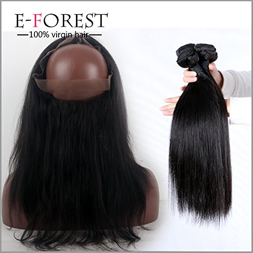 E-forest Hair 360 Band Full Lace Frontal Closure Silky Straight With Indian Virgin Human Hair 2 Bundles 22.5