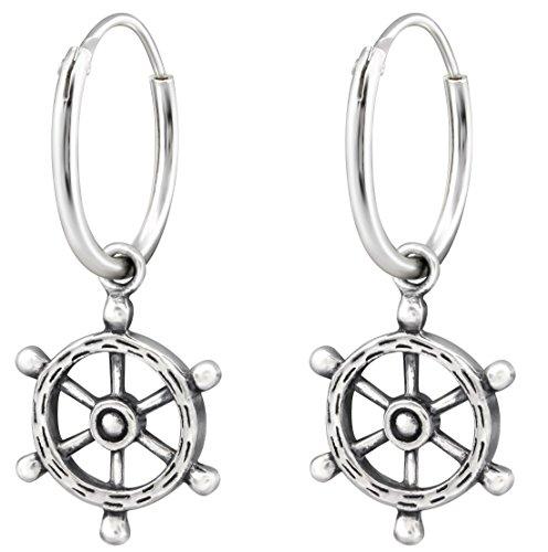 925 Sterling Silver Hypoallergenic Ship's Wheel on Endless Hoop Earrings for Girls 32139
