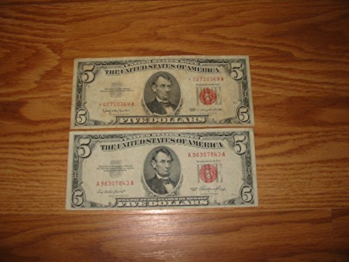 1953 $5 &1963 $5 STAR RED SEAL NOTES---2 NICE AFFORDABLE VINTAGE CURRENCY ---VERN'S CARD & COIN F (Seal Note Star)