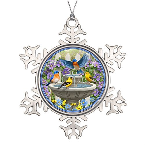 OneMtoss Christmas Snowflake Ornament Personalised Christmas Tree Decoration Colorful Birds and Bird Bath Flower Garden Outdoor Christmas Tree Decorations