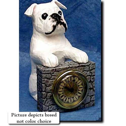Michael Park Brindle and White Bulldog Mantle Clock