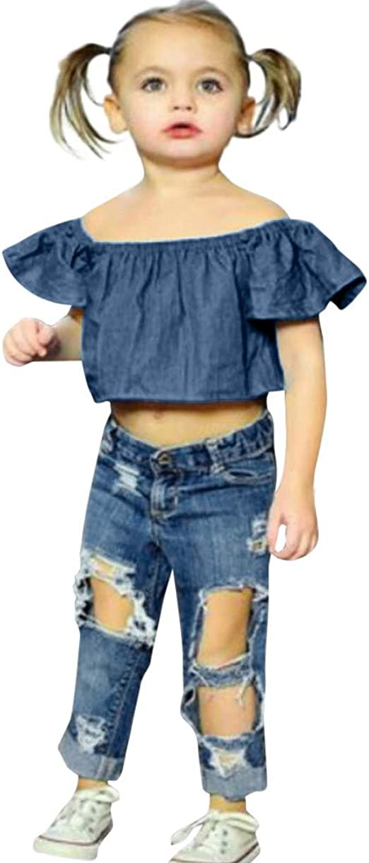 Kehen Kid Toddler Girl Summer Clothes 2pc Cow Print T-Shirt Top Tee Denim Shorts Jeans with Lace
