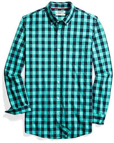 (Goodthreads Men's Slim-Fit Long-Sleeve Gingham Plaid Poplin Shirt, Teal/Navy, Small)
