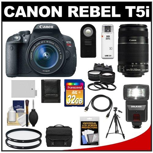 Canon EOS Rebel T5i Digital SLR Camera and EF-S 18-55mm IS STM Lens with EF-S 55-250mm IS Lens + 32GB Card + Battery + Case + Flash + Tele/Wide Lenses Kit, Best Gadgets