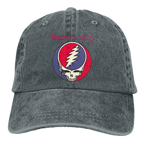 DADAJINN Grateful Dead Adjustable Travel Cotton Washed Denim Caps Hats Deep Heather ()
