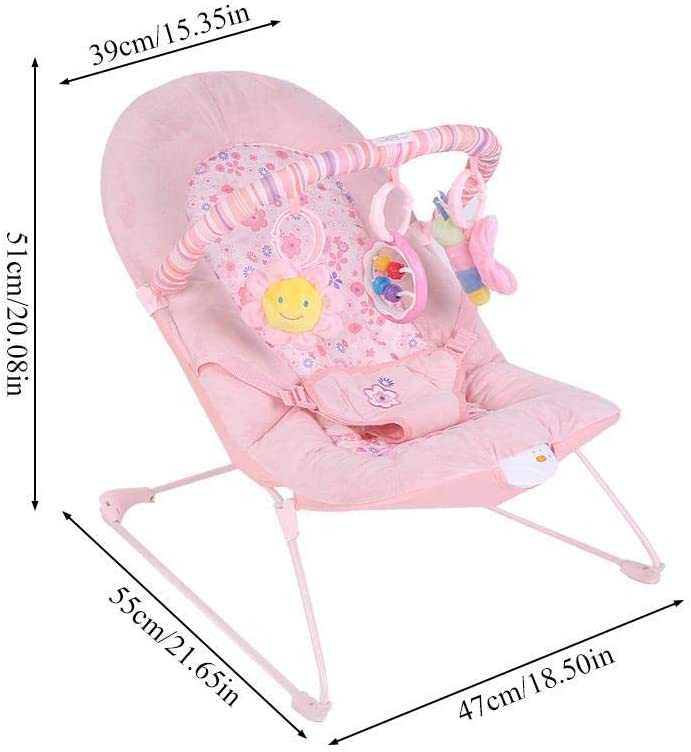 Baby Bouncer Transat Berceau oscillant avec Musique et Jouets Suspendus Angle r/églable 73 x 56 x 49 cm