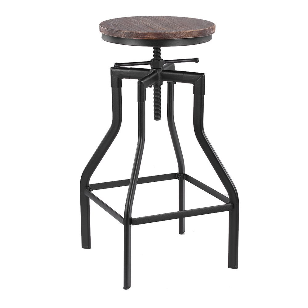 Metal Kitchen Dining Chair Furniture Ikayaa Height Adjustable Swivel Bar Stool Industrial Style Natural Pinewood Top
