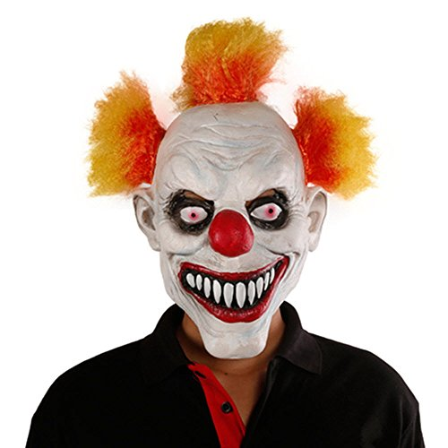 [GnG Toy joker Creepy scary halloween Clown Mask Red yellow hair,Red Eye] (Red Eye Mask)