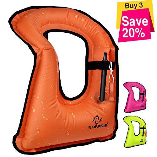 N N.ORANIE Inflatable Snorkel Vest, Snorkeling Vest for Women/Men/Kids Life Jacket for Snorkeling, Free Diving, Swimming Safety ()