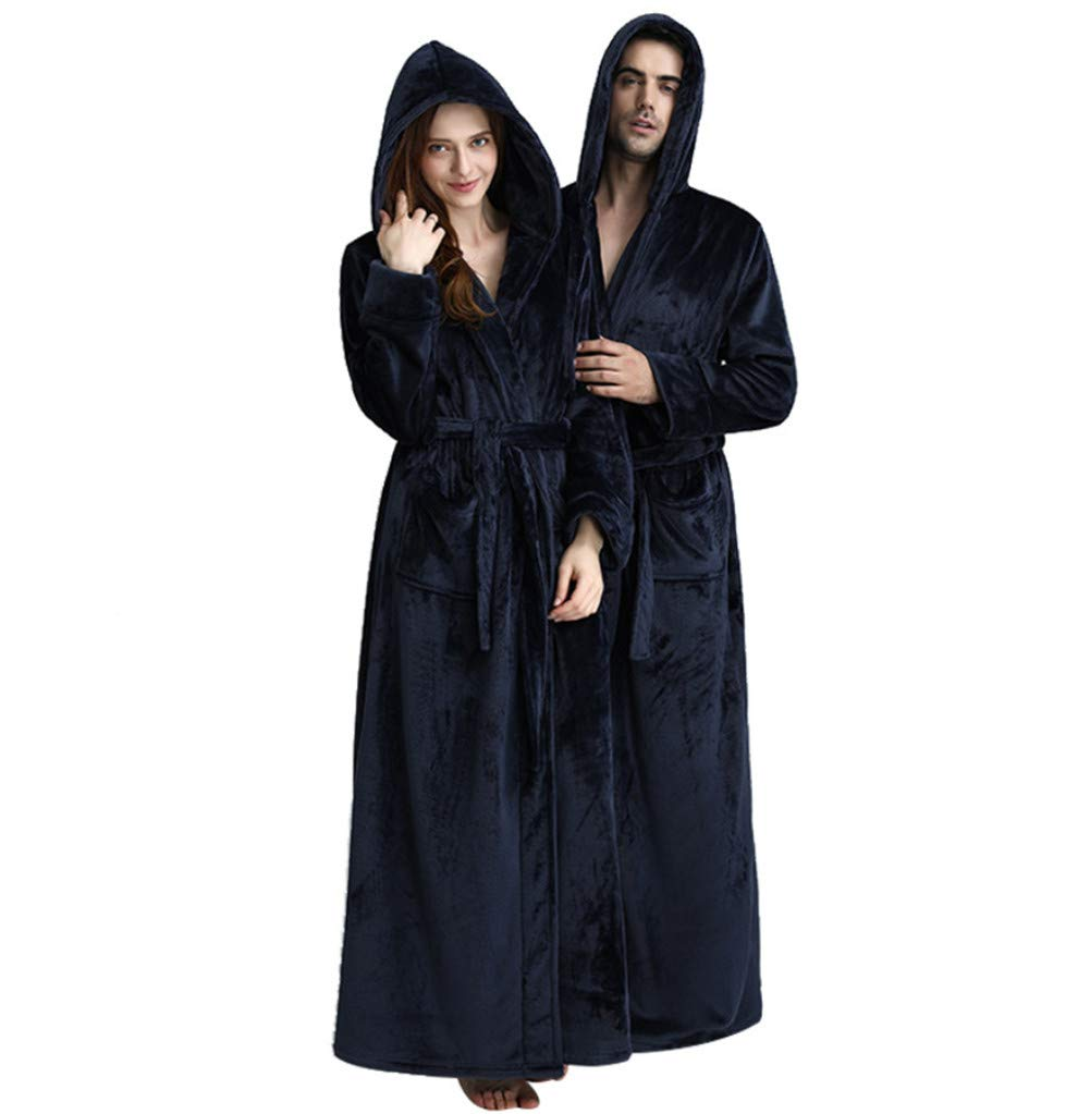 KKING Women's Men's Full Length Fleece Hooded Robe Plus Size Super Soft, Unisex Plush Winter Sleepwear Luxurious Couple Shower Nightgown with Pockets Solid Colored Housecoat