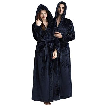 85cf60ed10 KKING Women s Men s Full Length Fleece Hooded Robe Plus Size Super  Soft