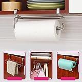 CALISTOUK Stainless Steel Kitchen Closet Tissue Hanging Hook Holder Bathroom Roll Paper Holder Towel Rack