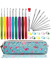 Luxerlife Large-Eye Blunt Needles Yarn Knitting Plus Crochet Hooks Set with Case,Ergonomic Handle Crochet Hooks Needles for Arthritic Hands.Best Gift!