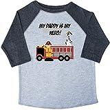 Inktastic Little Boys' My Daddy is my Hero Toddler T-Shirt 4T 3/4 Sleeve Heather Smoke