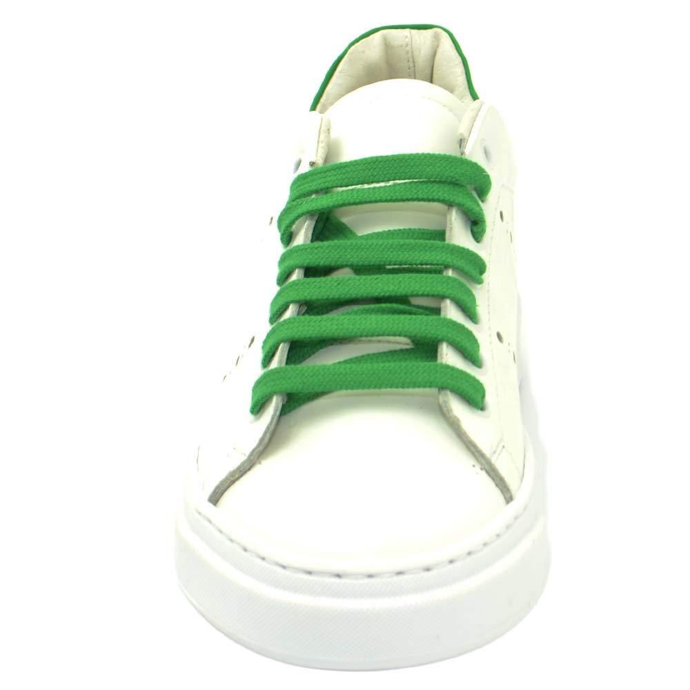 Sneakers Bassa Uomo Bianca in Vera Pelle Riporto Verde Fluo