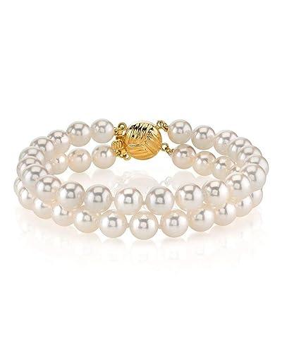 Amazon.com: 14 K oro Akoya Japonesa Color Blanco Perla ...