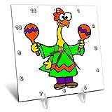 3dRose All Smiles Art - Music - Cute Funny Rubber Chicken Shaking Maracas Cartoon - 6x6 Desk Clock (dc_293160_1)