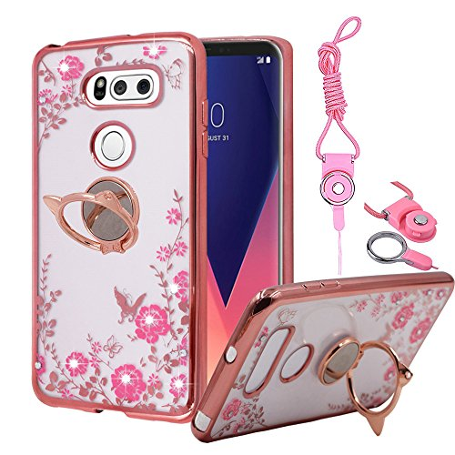 Lg V30  V30 Plus Case  Best Share Bling Crystal Flower Slim Fit Clear Thin Tpu Back Cover Soft Bumper  Mirror With Cats Ear Kickstand Lanyard Rose Gold Bumper