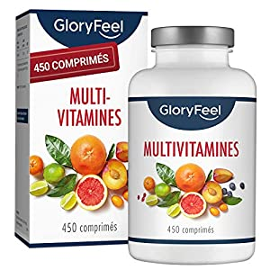 Multivitamines et Minéraux – 450 Comprimés (15 Mois) – Avec Zinc, Sélénium, Calcium, Biotine, Vitamines A, B1, B2, B3…