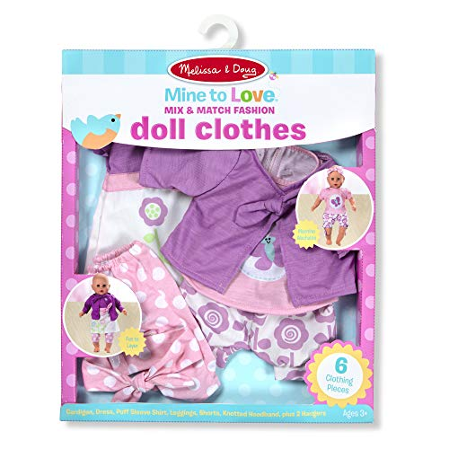 "Melissa & Doug Mine to Love Mix & Match Fashion Doll Clothes for 12""-18"" Dolls (6 Pieces, Great Gift for Girls and Boys - Best for 3, 4, 5 Year Olds and Up)"