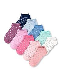 The Children's Place Big Girls' 10 calcetines de rayas y lunares para niñas grandes