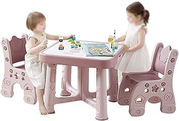 CTC Juego de mesa y silla para niños/niños, mesa de estudio de plástico ajustable para