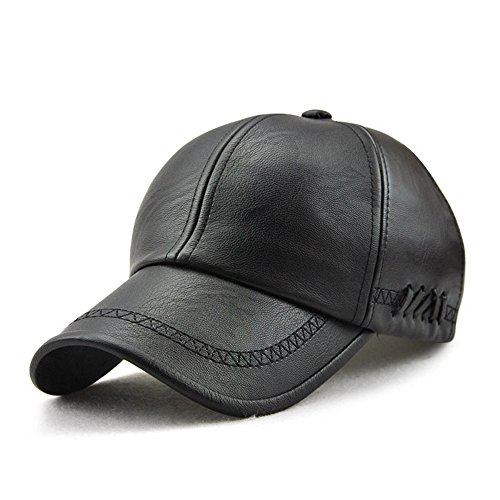 Men PU Leather Lace-up Baseball Caps Winter Outdoor Sport Warm Sunshade (Lace Up Cap)